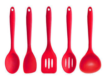 Harga niceEshop Cooking Tools Sets for Nonstick Skillet/pan Silicone Slotted Spatula Set Spatula Ladle Basting Spoon Slice,(Red,12.2''x3.5''x3.4'')