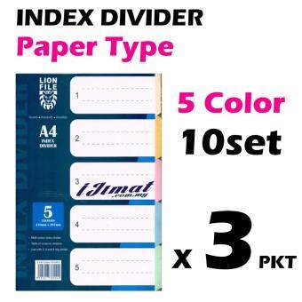 Harga 3 pack of LION FILE A4 Index Divider / Index Separator Paper Type 10sets (5colors)