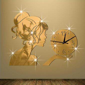 Harga Funlife process mirror girl wall clock wall clock creative fashion the living room mirror clocks wall stickers wc1196,Gold