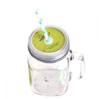 Harga Solid Color Mason Jar with Straw - Green
