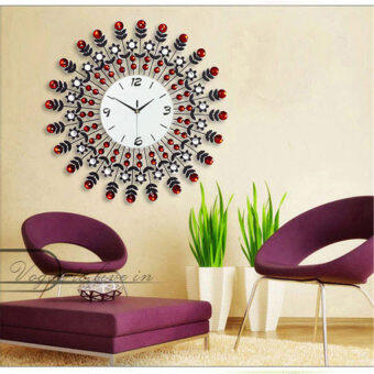 Harga Luxury Home Decor Decorative 60*60cm Wall Clock(Red)