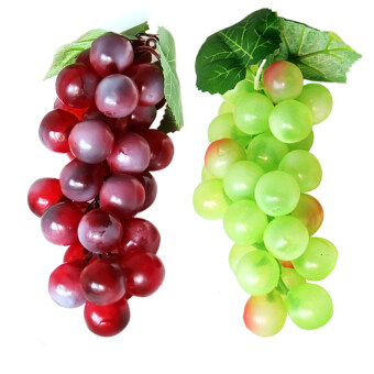 Harga 2 Bunch of Soft Plastic Artificial Lifelike Simulation Green and Purple Grapes Model Fake Fruit
