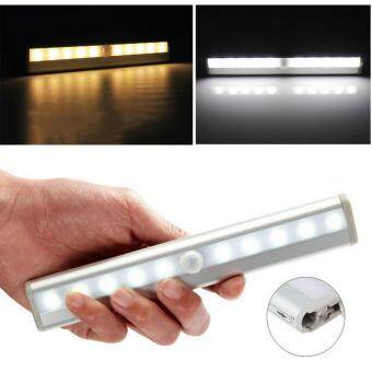 Harga Super Bright 10 LED Magnetic Motion Sensor LED Night Light (WARM WHITE - YELLOW LIGHT)