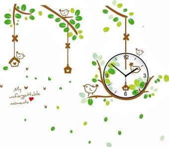 Harga Walplus Green Bird Nest Clock Wall Stickers