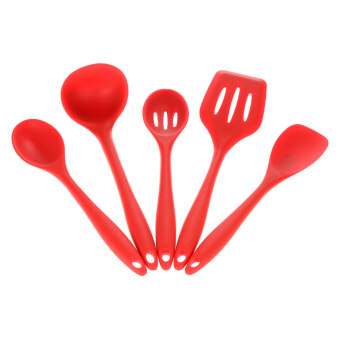Harga High Quality 5pcs Silicone Kitchenware Suit Kitchen Tools Set Spatulas Spoon Slotted Turner Ladle Cooking Utensils