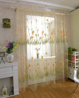 Harga BolehDeals 270x100cm Calla lily Pattern Tulle Door Window Divider Voile Curtain- Yellow