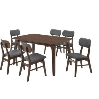 Harga SKL9993 Solid 1+6 Dining Table / Dining Table Set (Walnut)