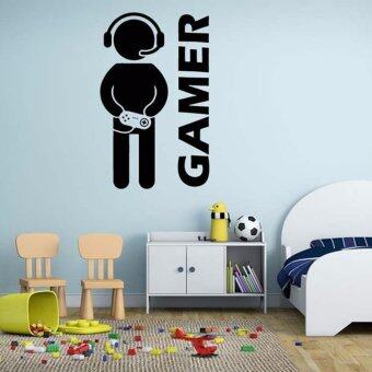 Harga Black Horse Removable Games Gamer Quote Word Decal Vinyl DIY Home Room Decor Art Wall Sticke