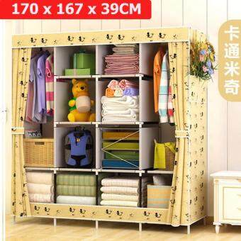 Harga Le Huo Shi Guang GY-49 High Quality Side open Curtain Dust and Water Resistance DIY Modern Multifunctional Cloth Wardrobe (King Size)