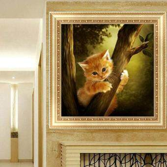 Harga DIY 5D Diamond Embroidery Mosaic Naughty Cat Painting Cross Stitch Home Decor