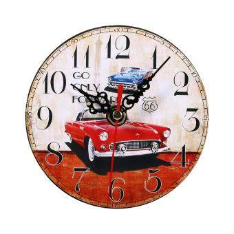 Harga Creative Antique Wall Clock Vintage Style Wooden Round Clocks Home Decoration (#2)