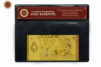 Harga Collectible Malaysia Currency RM5 Pure Gold Foil Plated Banknote With PVC Frame
