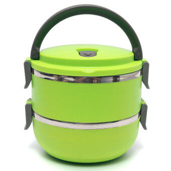 Harga Empire Living (Green) 2L Two Layers Stainless Steel School Bento Lunch Box Lunchbox Food Storage Container