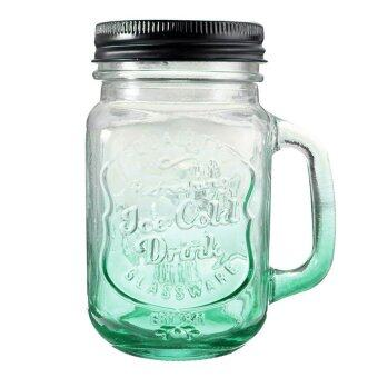 Harga Fashional Vintage Mason Glass Drinking Jar with Straw 500ML - Green