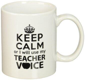 Harga Ceramic Coffee Mug Cup KEEP CALM or I Will Use My Teachers Voice Coffee - White -11 Oz
