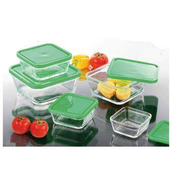 Harga La Piana Apple Green 5pcs Glass Square Bowl With Lid