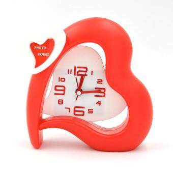 Harga Special Offer Morning Clock Heart Shape Alarm Clocks,Red/Pink Fashion Home Decoration Desk Clock With Small Photo Frame
