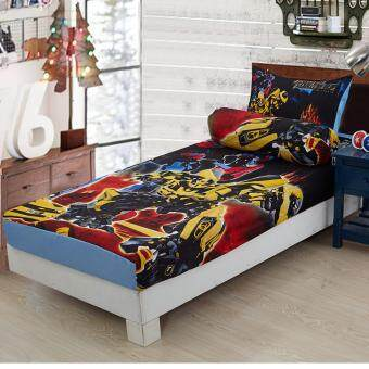 Harga Single Size Set Fitted Bedsheets Cartoon Transformer
