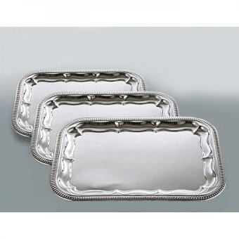 Harga 3pcs La Piana Chrome Plated Oblong Tray Set (Dulang Hantaran)
