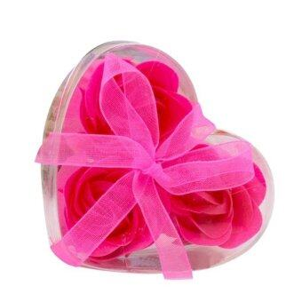 Harga 3Pcs Scented Rose Flower Petal Bath Body Soap Wedding Party Gift Hot Pinkfree shipping