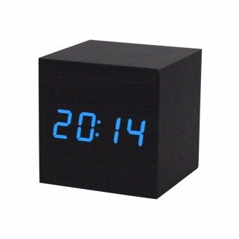 Harga Digital LED Black Wooden Wood Clocks Desk Home Fashion Modern Alarm Clock Voice Control Horloge