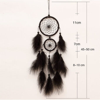 Harga Dream Catcher Handmade Wind Chimes Circular Net Feather Wall Hanging Decoration Ornament Craft Gift (MS6012 Black)