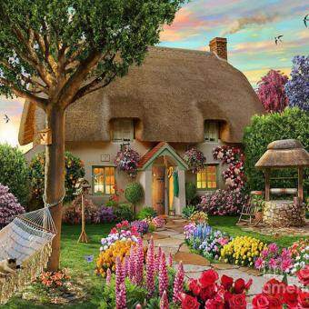 Harga Garden Cottage 5D Diamond DIY Painting Craft Kit Home Decor