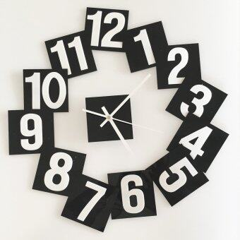 Harga DIY creative black and white digital block TV clock wall stickers (black 9cm)