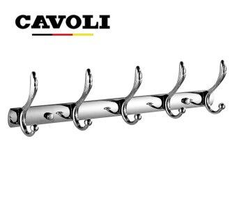 Harga Cavoli-5 hooks- Stainless Steel Wall Robe Hooks for Bathroom Hanging Coats Wall Mounted Towel Holders Chrome(sliver)#2300