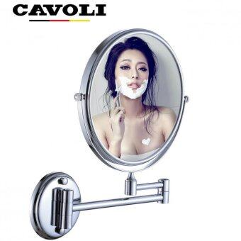 Harga MC85-Cavoli (8inche,5X) Brass Double-sided Wall Make up Mount Mirror Bathroom Mirror with Chrome Finish 5x Magnification