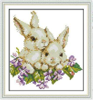 Harga 25*27 cm cross stitch dmc christmas kits 11ct stamped needlework diy dmc printed rabbit