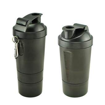 Harga Protein Shaker Three layers of Blender Mixer BLACK BOTTLE