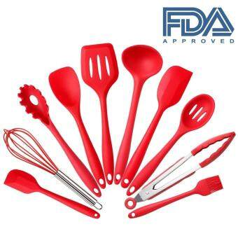 Harga 10Pcs/set Silicone Heat Resistant Kitchen Cooking Utensils spatula Non-Stick Baking Tool tongs ladle gadget