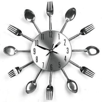 Harga HappyLife 3D Home Decor Quartz Diy Wall Clock Kitchen Cutlery Clocks Horlogewatch