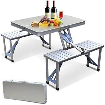 Harga Outdoor Foldable Picnic Tables Easy Folding Aluminium Outdoor Tables Set With 4 Stools(Silver)