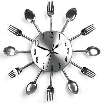 Harga 3D Home Decor Quartz DIY Wall Clock Kitchen Cutlery Clocks Horloge Watch
