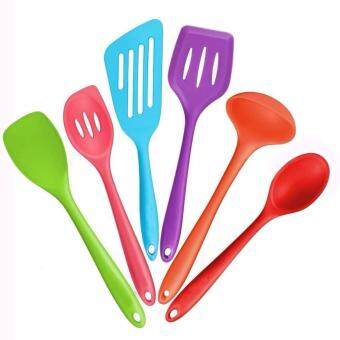 Harga 6-Piece Silicone Cooking Set - 2 Spoons,2/ Turners, 1 Spoonula / Spatula & 1 Ladle - Heat Resistant Kitchen Utensils