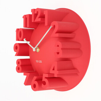 Harga 3D Number Dome Round Wall Clock Watch Bell Home Modern Art Decor Red
