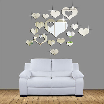 Harga Linemart Mirror Hearts Decoration Wall Stickers (Silver)