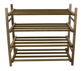 Harga Abby Solid Wood 4 Tier Shoe Rack-Cappucino
