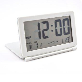 Harga MOON STORE Ultra-thin travel electronic table clock alarm clock LCD (white)