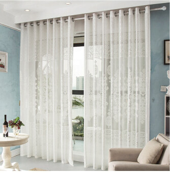 Harga Newly Panel Curtain Room Divider Voile Drape Window Door Flower Sheer Curtain 1.5x2.7m-white
