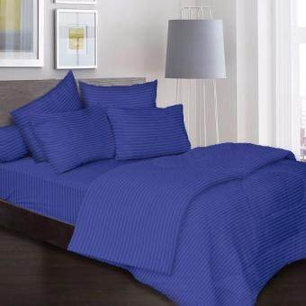 Harga Essina 100% Cotton 680TC Fitted Bedsheet set Colour Palette Dark Blue - Queen size