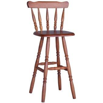 Harga HGF-BAR28AO Solid Rubber Wood Bar Counter Chair with back Antique Oak