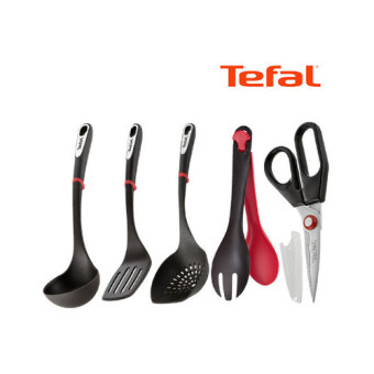 Harga [Tefal Licensed] Ingenio Silicone 5 Cookware Set (Ladle + Turner + Noodle Ladle + Tongs + Scissors)