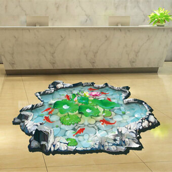 Harga GETEK Removable 3D Lotus Floor Home Decor Wall Sticker (Multicolor)