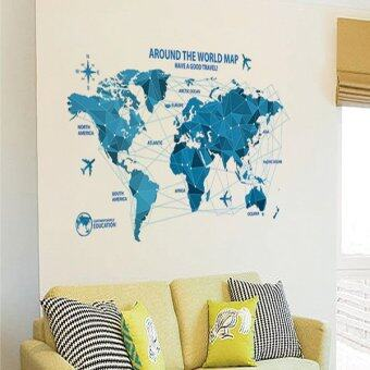Harga Home Decor Wall Sticker Decorative Removable Sticker World Map Blue