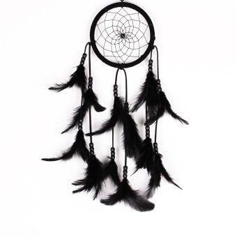 Harga Dream Catcher Handmade Wind Chimes Circular Net Feather Wall Hanging Decoration Ornament Craft Gift (MS1045 Black)