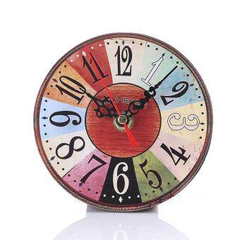 Harga European Retro Antique Wall Clock Creative Vintage Stylish Wooden Round Clocks Home Decoration- #29