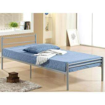Harga Single Steel metal Bed with wood slab - silver color